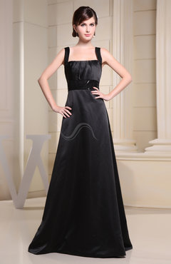 Black Plain Wide Square Sleeveless Satin Paillette Evening Dresses