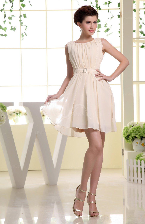 Cream Simple A-line Sabrina Zip up Mini Sash Prom Dresses - UWDress.com