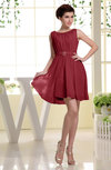 Simple A-line Sabrina Zip up Mini Sash Prom Dresses