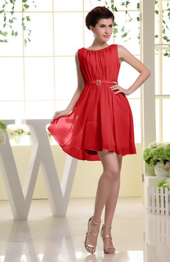 Red Simple A-line Sabrina Zip up Mini Sash Prom Dresses