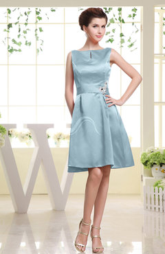 Aqua Plain Sabrina Sleeveless Zipper Knee Length Rhinestone Bridesmaid Dresses