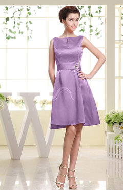 Begonia Plain Sabrina Sleeveless Zipper Knee Length Rhinestone Bridesmaid Dresses