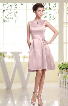 Blush Plain Sabrina Sleeveless Zipper Knee Length Rhinestone Bridesmaid Dresses
