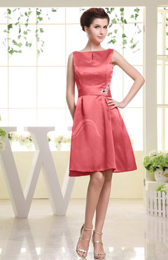 Coral Plain Sabrina Sleeveless Zipper Knee Length Rhinestone Bridesmaid Dresses