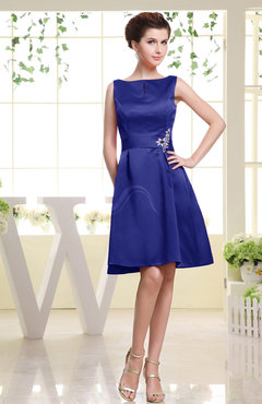 Electric Blue Plain Sabrina Sleeveless Zipper Knee Length Rhinestone Bridesmaid Dresses