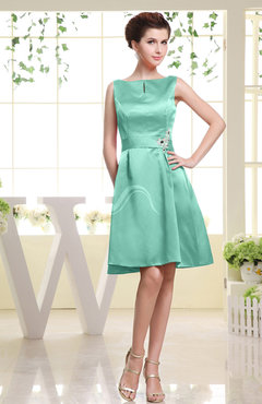 Mint Green Plain Sabrina Sleeveless Zipper Knee Length Rhinestone Bridesmaid Dresses