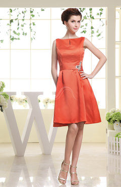 Persimmon Plain Sabrina Sleeveless Zipper Knee Length Rhinestone Bridesmaid Dresses