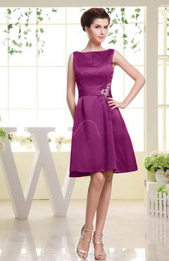 Raspberry Plain Sabrina Sleeveless Zipper Knee Length Rhinestone Bridesmaid Dresses