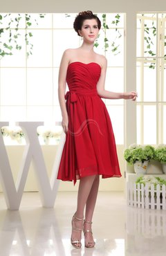 Red Cute A-line Sweetheart Chiffon Knee Length Bow Bridesmaid Dresses