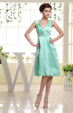 Mint Green Plain V-neck Sleeveless Knee Length Ruching Homecoming Dresses
