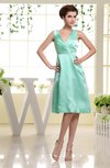 Plain V-neck Sleeveless Knee Length Ruching Homecoming Dresses