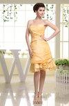 Plain Sweetheart Zipper Taffeta Knee Length Bridesmaid Dresses