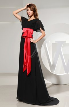 Black Classic V-neck Short Sleeve Zip up Chiffon Brush Train Prom Dresses