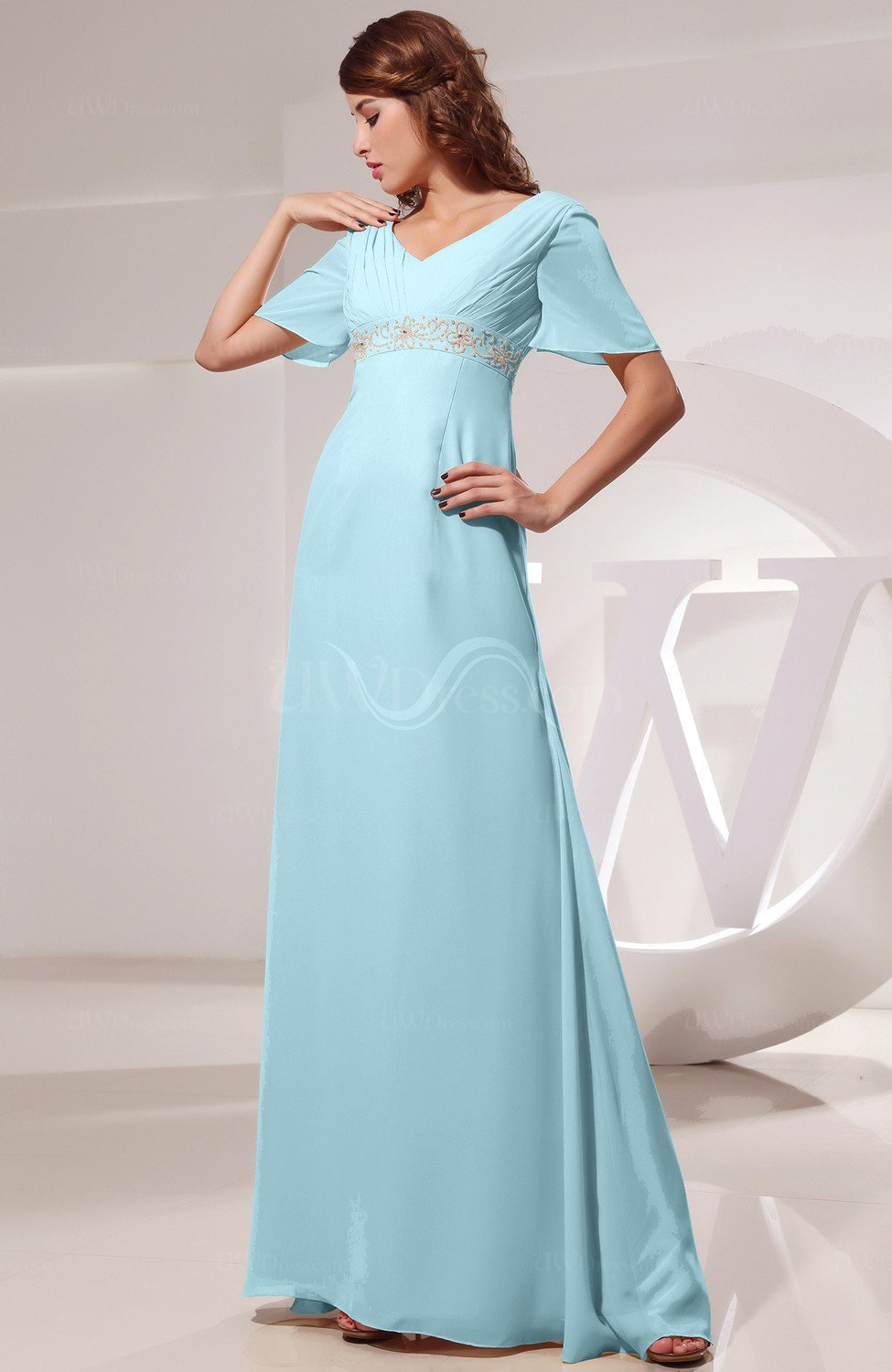 Aqua Vintage Short Sleeve Chiffon Floor Length Ruching