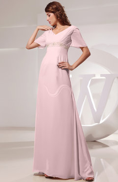 Blush Vintage Short Sleeve Chiffon Floor Length Ruching Prom Dresses