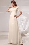 Vintage Short Sleeve Chiffon Floor Length Ruching Prom Dresses