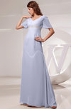 Vintage Short Sleeve Chiffon Floor Length Ruching Prom Dresses