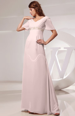 Light Pink Vintage Short Sleeve Chiffon Floor Length Ruching Prom Dresses