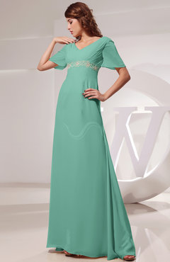 Mint Green Vintage Short Sleeve Chiffon Floor Length Ruching Prom Dresses