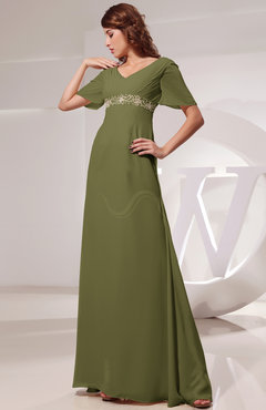 Modest Bridesmaid Dresses With Sleeves Olive Green Color Uwdresscom