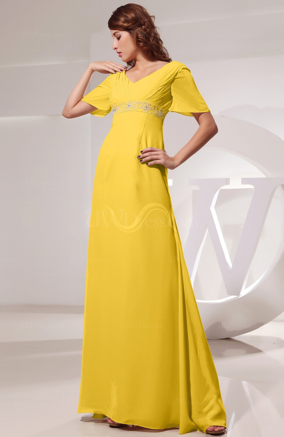 Yellow Vintage Short Sleeve Chiffon Floor Length Ruching