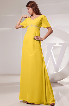 Yellow Vintage Short Sleeve Chiffon Floor Length Ruching Prom Dresses