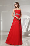 Elegant Asymmetric Neckline Sleeveless Backless Chiffon Ruching Prom Dresses