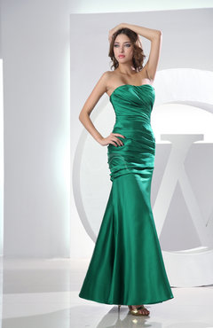 Green Sexy Sleeveless Zip up Satin Ankle Length Prom Dresses