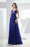 Casual V-neck Chiffon Brush Train Beading Evening Dresses