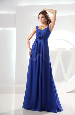 Electric Blue Casual Empire Zipper Chiffon Floor Length Ruching Bridesmaid Dresses