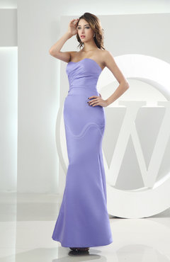 Lavender Elegant Sweetheart Sleeveless Backless Satin Ankle Length Bridesmaid Dresses