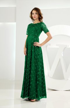 Green Classic Scalloped Edge Short Sleeve Zipper Satin Floor Length Evening Dresses