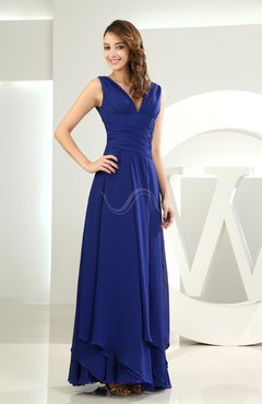 Electric Blue Simple A-line V-neck Sleeveless Chiffon Wedding Guest Dresses