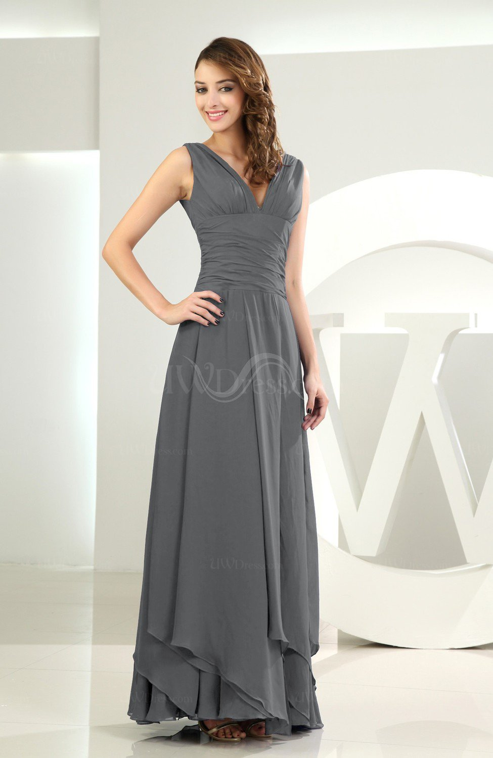 Grey simple a line v neck sleeveless chiffon wedding guest for Grey dress wedding guest