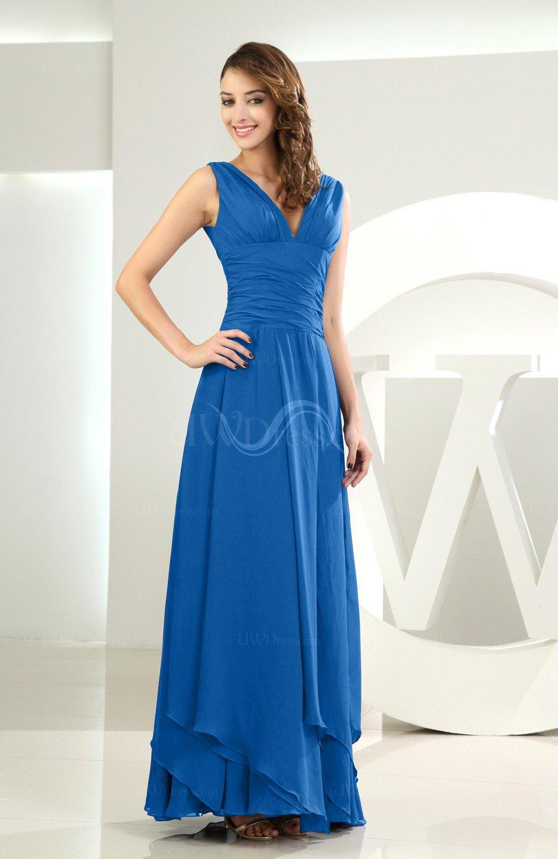 Royal Blue Simple A-line V-neck Sleeveless Chiffon Wedding Guest ...