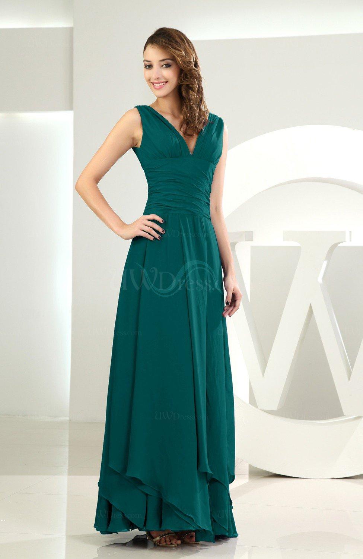 Shaded Spruce Simple A-line V-neck Sleeveless Chiffon Wedding Guest ...