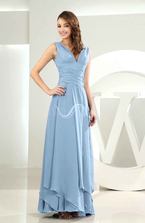 Sky blue simple a line v neck sleeveless chiffon wedding for Sky blue wedding guest dresses