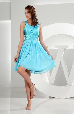 Light Blue Plain A-line Zipper Chiffon Knee Length Ruching Homecoming Dresses