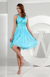 Plain A-line Zipper Chiffon Knee Length Ruching Homecoming Dresses