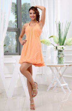 Apricot Informal Halter Zip up Chiffon Mini Ruching Club Dresses