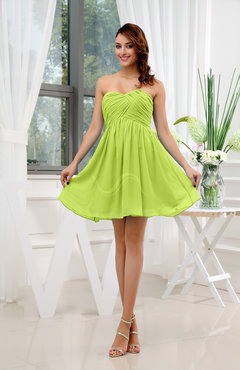 Bright Green Informal Sleeveless Zip up Short Ruching Party Dresses