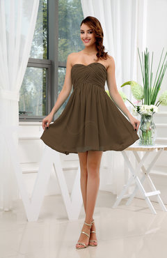 Brown Informal Sleeveless Zip up Short Ruching Party Dresses
