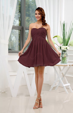 Burgundy Informal Sleeveless Zip up Short Ruching Party Dresses