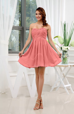 Coral Informal Sleeveless Zip up Short Ruching Party Dresses