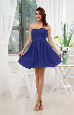 Electric Blue Informal Sleeveless Zip up Short Ruching Party Dresses