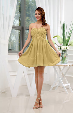 Gold Informal Sleeveless Zip up Short Ruching Party Dresses