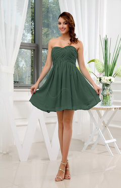 Hunter Green Informal Sleeveless Zip up Short Ruching Party Dresses