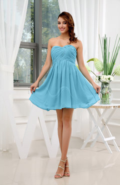 Light Blue Informal Sleeveless Zip up Short Ruching Party Dresses