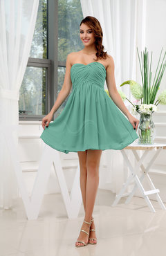 Mint Green Informal Sleeveless Zip up Short Ruching Party Dresses