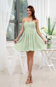 Pale Green Informal Sleeveless Zip up Short Ruching Party Dresses
